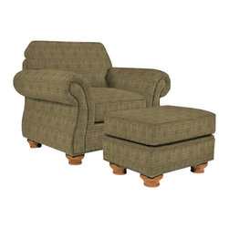Broyhill - Broyhill Laramie Olive Chair and Ottoman Set with Attic Heirlooms Wood Stain - Broyhill - Club Chairs with Ottomans - 50810Q150815Q1Set - Broyhill Laramie Olive Chair with Attic Heirlooms Wood Stain (included quantity: 1) About This Product:�