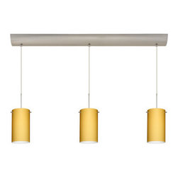 Besa Lighting - Besa Lighting 3BV-4404VM Stilo 3 Light Linear Pendant - Stilo 7 is a classic open-ended cylinder of handcrafted glass, a shape that will stand the test of time. Our Vanilla Matte glass is a light golden cased glass and opal inner layer. The orange glow has a low key harmonious display that exudes a warm mood. When lit the glass is vitalizing as well as stylish. The smooth satin finish on the outer layer is a result of an extensive etching process. This blown glass is handcrafted by a skilled artisan, utilizing century-old techniques passed down from generation to generation. The cord pendant fixture is equipped with three (3) 10' SVT cordsets and a 3-light bar canopy.Features: