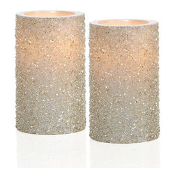LED Glittered Pillar Candles - I love these faux candles that use LED lights. They take all the stress away while still creating really pretty soft light. These would add a sparkly touch to a nightstand or bathroom.