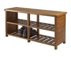 "Winsome Wood - Winsome Wood Storage X-84333 - Organize your shoes in your closet, bedroom or entryway with the Keystone Shoe Bench.  For closet, use top seat as extra shelf to stack clothes or place more shoes.  Top dimension 38.43""W x 11.81""D.  Bottom two slated shelves has four sections with each dimension about 17.15""W x 11""D x 7.2""H.  Made of Combination of Solid and Composite wood in Teak Finish.  Weight Capacity is 200 lbs.  Assembly Required."