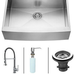Vigo - VIGO Farmhouse Stainless Steel Kitchen Sink Faucet and Dispenser VG15002 - VIGO-Stainless Steel-Kitchen Sinks Kitchen Sets are fully undercoated and padded with multi layer sound eliminating technology which also prevents condensation.  All Vigo kitchen sinks guaranteed to never rust.  Faucet features spray face that resists mineral buildup and is easy-to-clean. Vigo finishes resist corrosion and tarnishing, exceeding industry durability standards .  Drip-free ceramic disc cartridge.