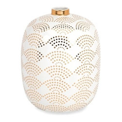 Modern White and Gold Olivia Wide Vase - *With simplified scale pattern decals in a brilliant gold, the wide Olivia vase feature a crisp, white finish and adds a sophisticated charm to any modern Decor. Designed by Iffat Khan.