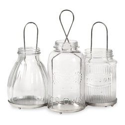 iMax - Spangler Jar Lanterns, Set of 3 - The Spangler collection of jar lantern add a vintage feel to any home. Inspired by different mason jar styles, use multiples to light up the home for any celebration. Holds tealight candles.