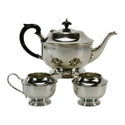 Lavish Shoestring - Consigned Silver Plated Tea Set w/ Teapot & Creamer Sugar Bowl, Vintage English - This is a vintage one-of-a-kind item.