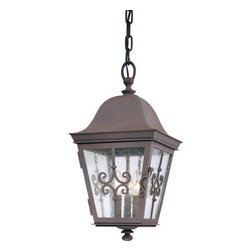 "Troy Lighting - Troy Lighting F2358 Markham 3 Light Outdoor Lantern Pendant - Troy Lighting F2358 Traditional / Classic Three Light 20.75"" Tall Outdoor Hanging Lantern from the Markham CollectionBeing a Leader in an Industry requires many attributes. Troy Lighting's passion for quality, design, value and service lead the way. Their Team of Lighting Professionals are serious about producing awesome lighting and having a strong, well-run company.  Hand-Forged Iron, Hand Applied Finishes, Glass and Shades that compliment the style are primary ingredients in Troy Lighting products. They take great pride in their engineering and inspection standards that  ensure a quality product. Troy Lighting is committed to providing quality high styled products, at reasonable prices, backed with the highest standard of service.Features:"