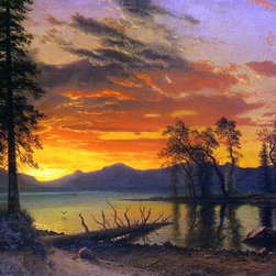 "Albert Bierstadt Sunset over the River - 16"" x 24"" Premium Archival Print - 16"" x 24"" Albert Bierstadt Sunset over the River premium archival print reproduced to meet museum quality standards. Our museum quality archival prints are produced using high-precision print technology for a more accurate reproduction printed on high quality, heavyweight matte presentation paper with fade-resistant, archival inks. Our progressive business model allows us to offer works of art to you at the best wholesale pricing, significantly less than art gallery prices, affordable to all. This line of artwork is produced with extra white border space (if you choose to have it framed, for your framer to work with to frame properly or utilize a larger mat and/or frame).  We present a comprehensive collection of exceptional art reproductions byAlbert Bierstadt."