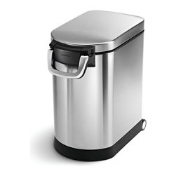 simplehuman - Medium Pet Food Can - Big, bulky food bags messing up your decorating scheme? Store pet or bulk food away in style with this sleek stainless can that features an airtight, locking lid that holds a magnetic scooper for easy portioning. There's also a removable liner for easy cleaning.