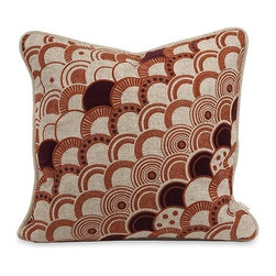 iMax - Iffat Khan Haliea Embroidered Pillow with Down Insert - With deep amber and red embroidery, the Haliea down fill pillow has a natural linen color and is designed by Iffat Khan.