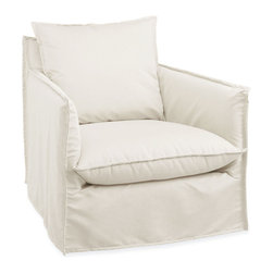 Malaga Outdoor Swivel Armchair in Spinnaker Salt - Settle comfortably into the fabric-swathed luxury of this transitional outdoor armchair, then swivel to face friends and family who are relaxing with you on the deck or at the poolside.  Turned-out seams on the chair's sophisticated slipcover match those on the casual back and seat cushions for a textured look to the weather-safe upholstery, while high and narrow track arms encourage lounging in the elegant and convenient garden armchair.