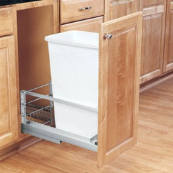 Rev-A-Shelf Single Soft Close Pull Out 50 qt. Trash Can - The Rev-A-Shelf Single Soft Close Pull-Out 50-Quart Trash Can is all about keeping dinner parties and other events running smoothly. The waste container features heavy-duty brushed aluminum soft-closing slides that offer the support and stability needed to eliminate side-to-side movement. The durable pull-out unit is available in a white polymer finish. A fully adjustable door-mount frame has a built-in storage area for bags. Dimensions: 21.8125L x 10.375W x 23.125H inches.Minimum cabinet opening Width: 10.875 inches Depth: 22.125 inches Height: 23.25 inches About Rev-A-ShelfOriginally a division of Ajax Hardware Rev-A-Shelf was established in 1978 as a family-owned manufacturer of a variety of helpful home products. Rev-A-Shelf offers Lazy Susans kitchen drawer organizers cabinet and pantry pull-outs and functional waste containers. All products consist of polymer wire wood and stainless steel components which will seamlessly complement kitchen appliances and accessories. Rev-A-Shelf aims to revolutionize the way kitchens are organized across the country.