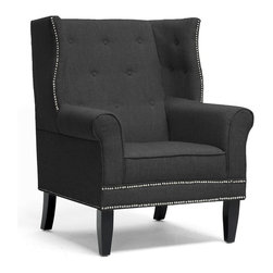 Baxton Studio - Kyleigh Gray Linen Modern Arm Chair - A modern update looks good on our Kyleigh Chair! This drool-worthy design takes elements of a traditional wingback arm chair and mixes them with neutral linen and a few modern twists to fit snugly in your modern living room. Our Chinese craftsmen build a sturdy wooden frame with black legs, add firm foam cushioning, and finish it off with dark charcoal gray linen upholstery. Silver upholstery tacks and button accents dress it up. Please note the seat cushion is not removable and non-marking feet are included. Minor assembly is required. Please spot clean only. The Kyleigh Modern Club Chair is also available in beige linen (sold separately).Seat dimensions: 19 inches high x 20 inches wide x 22.5 inches deep,. Dimensions: 42.5 inches high x 33 inches wide x 34 inches long.