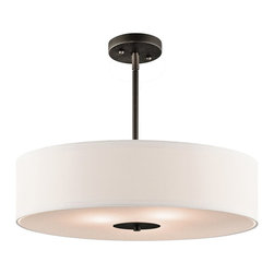 Kichler Lighting - Kichler Lighting Transitional Inverted Pendant Light X-ZO12124 - This transitional inverted pendant light features a white microfiber shade in a drum design that creates a bold design element. The olde bronze finish on the stem is a bold contrast and simple touch to this elegant light. This light is great for nearly any space in your home and is made from quality materials that are sure to last.