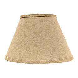 "Lamps Plus - Country - Cottage Neutral Heavy Basket Empire Lamp Shade 10x18x13 (Spider) - This handsome lamp shade features a heavy basket weave fabric in a neutral tone and a chrome spider fitter for a hint of sparkle. A delightful accent shade to refresh a floor or table lamp. The correct size harp is included free with this purchase. Crafted in the Indiana workshops of A'Homestead Shoppe. Empire hardback shade. Neutral tone. Made in USA. Heavy basket weave cotton fabric. Chrome spider fitter. Unlined. Correct size harp included. 10"" across the top. 18"" across the bottom. 13"" on the slant.  Empire hardback shade.  Neutral tone.  Made in USA.  Heavy basket weave cotton fabric.  Chrome spider fitter.  Unlined.  Correct size harp included.  10"" across the top.  18"" across the bottom.  13"" on the slant."