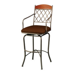 """Pastel Furniture - Pastel Furniture Napa Ridge 30 Inch Swivel Barstool in Bronze - The Napa Ridge barstool with arms is beautifully made with classic design elements that will add that touch of style to any room. This swivel barstool features a quality metal frame with sturdy legs and foot rest finished in Bronze with Buckskin wood slat. The padded seat is upholstered in Shandora Toast offering comfort and style. Available in 26"""" counter or 30"""" bar height."""