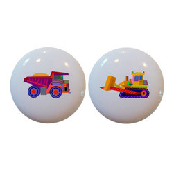 Carolina Hardware and Decor, LLC - Kid's Set of 2 Dump Truck Bulldozer Ceramic  Knobs - Set of two new 1 1/2 inch ceramic cabinet, drawer, or furniture knobs with mounting hardware included. Also works great in a bathroom or on bi-fold closet doors (may require longer screws). Item can be wiped clean with a soft damp cloth. Great addition and nice finishing touch to any room!