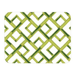 Felt-Backed Bamboo Place Mat - This place mat with a green bamboo trellis pattern is a chinoiserie classic that will give white china a clean and modern chinoiserie look.