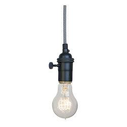 Hammers & Heels - Chevron Cloth Cord Bare Bulb Pendant Light - SIMPLE AND MINIMALIST BARE BULB PENDANTS