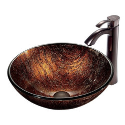 Vigo - Vigo Kenyan Twilight Vessel Sink and Otis Faucet Set, Oil Rubbed Bronze (VGT197) - Vigo VGT197 Kenyan Twilight Vessel Sink and Otis Faucet Set, Oil Rubbed Bronze