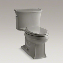 KOHLER - KOHLER Archer(R) one-piece elongated 1.28 gpf toilet with AquaPiston(R) flush te - With beveled edges and graceful curves, the timeless style of this Archer toilet comes with an exceptional level of comfort and water conservation. A high-efficiency 1.28-gallon flush setting provides significant water savings of up to 16,500 gallons per year, compared to an old 3.5-gallon toilet, without sacrificing performance. The included seat and lid come to a gentle close and unlatch for easy cleaning.