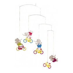 Flensted Cyclephants Mobile - For a more classic approach to a circus vibe, you can't go wrong with elephants on bicycles. Can they really do that?
