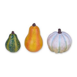 Gourds Set of 3 - This mini set of 3 gourds designed by Genevieve Gail features all-weather paint and a unique distressed finish. Just don't go over-gourd.