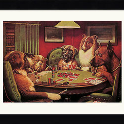 Amanti Art - A Bold Bluff Framed Print by C.M. Coolidge - Cassius Marcellus Coolidge paved the way for the surrealist movement with his iconic paintings of dogs. This playful framed image will be right at home in your game room or den. You and your friends will never tire of imagining the secret life of these poker playing pups.
