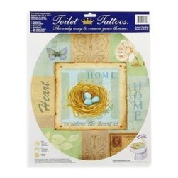 Lena Fiore Inc - Toilet Tattoos Home Collage in Round - This Toilet Tattoo is a hygienic, removable applique for the toilet lid. Made from electrostatic vinyl film, this toilet seat decoration wipes clean and is reusable.