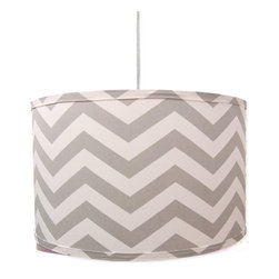 "Doodlefish - Grey Chevron Pendant Shade - This retro hanging pendant shade features the grey and white chevron fabric - Zig Zag Gray. The light is 16""d by 13""tall. It comes with a sleek white pluggable cord that measures 18' in length. Our pendants are hand made in America and are UL Listed.   This pendant uses one 40 watt or less bulb that is not included."