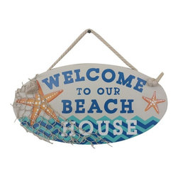 Handcrafted Nautical Decor - Wooden Welcome To Our Beach House Sign 15'' - Our   Wooden Welcome To Our Beach House Sign 15'' is the perfect choice to display   your affinity for decorating a beach house. Whether placing this sign on a beach house porch, using it as a coastal decorating idea, or hanging it up as part of   your beach bedroom decor, one thing is for   certain: you are sure to inject the beach lifestyle into your humble   abode.------    Easily mountable to hang outside or inside--    Solid wood--    Handcrafted and highly detailed--