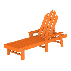 "Polywood POLYWOOD® Long Island Chaise in Tangerine - Kick back and relax Bring the easy comfort of a day at the beach to your outdoor living area with the stylish and eco-friendly Long Island Chaise inspired by the classic Northeast Adirondack with a twist of modern design. You don't need a house in the Hamptons to create your own breezy get away with these classically styled pieces constructed from HDPE material – an incredibly durable material made from post-consumer bottle waste, such as milk and detergent bottles. Solidly constructed with stainless steel hardware, these pieces will stand the test of time and can withstand the elements with very little maintenance.  The Long Island Chaise will not absorb moisture and requires no waterproofing, painting or staining to maintain their bright color for years. The colors are blended into the material all the way through, and are UV-resistant. Minimal assembly is required.  The collection includes the Long Island Adirondack Chair and the South Beach Ottoman.  Available colors: Sunset Red, Tangerine, Lemon, Lime, Aruba, Pacific Blue, Teak, White, and Black.  Dimensions Long Island Chaise – 37.25""H x 26.5""W x 75.5""D, Seat height – 12"", Seat size – 20"" x 43.25""   Care: Wash with mild soap and water. They can be power washed at pressures below 1,500 PSI.Please allow 2-3 weeks to ship"
