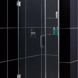 """DreamLine - DreamLine SHDR-20397210S-04 Unidoor Shower Door - DreamLine Unidoor 39 to 40"""" Frameless Hinged Shower Door, Clear 3/8"""" Glass Door, Brushed Nickel Finish"""