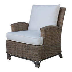 Panama Jack - Panama Jack Exuma Lounge Chair with Cushion - The Panama Jack chair features a unique wicker seat that is hand woven over a rattan frame. This lounge chair is finished with a timeless kubu grey that is perfect for casual dining or a decorative accent for your home.