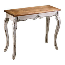Cyan Design - Cyan Design Cotswold Console Table X-35240 - Beautiful carved accents are paired with elegant curves and a simple rectangular top on this Cyan Design console table. From the Cotswold Collection, this console table features a natural wood colored top that pairs beautifully with the off-white distressing of the legs and base.