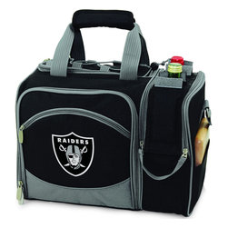 Picnic Time - Oakland Raiders Malibu Picnic Pack in Black - Insulated pack with picnic service for 2 made of 600D polyester canvas. The elegant and unique Malibu shoulder pack is perfect for picnics, concerts, or travel. This tote has an integrated wine storage section and a spacious food storage section with removable liner. The adjustable shoulder strap makes it easy to carry. A wonderful gift idea.; Decoration: Digital Print; Includes: 2 Wine glasses (acrylic), 2 Napkins (cotton 14 x 14 in.), 1 Corkscrew (waiter style stainless steel), 1 Cutting board (wood 6 x 6 in.), 1 Cheese knife (stainless steel w/wood handle), 2 Plates (melamine 9 in.), 2 Ea. Knives forks & spoons (stainless steel), 2 Napkins (cotton 14 x 14 in.)
