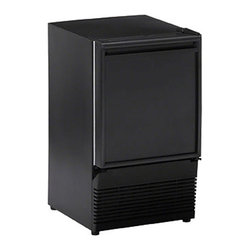 """U-Line - Ice Maker, Field Reversible Door, Black - Only requires a 1/4"""" outside diameter water line connection"""