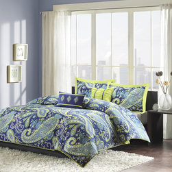 ID-Intelligent Designs - Intelligent Design Rachelle Comforter Set - Rachelle's large blue and white paisley print with lime green accents enhances the dimension and character of your bedroom. The bright green on the reverse side adds more color and vibrancy to this comforter.