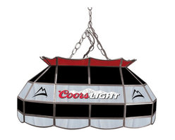 Trademark Global - Coors Light Stained Glass Pool Table Lamp - 3 ft. Hanging chain included. Bulbs not included. 2 Bulb style (max. 60 watt per bulb). Pull chain. On & Off switch. 10 ft. Power cord (110 Volt) with 3 Prong plug hanging hardware. Hand-made with stained glass brass channel. 28 in. L x 16 in. W x 14 in. H (27 lbs.)This Coors Light 28 in. Stained Glass Tiffany Lamp is an incredibly high quality lighting fixture. Use for your lighting your Billiard Table, Kitchen Table or even your Dining Room Table. Great for gifts and recreation decor.
