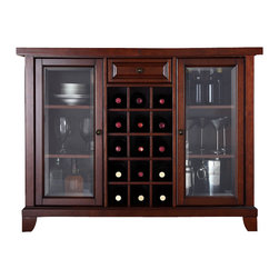 Crosley Furniture - 64 in. Wooden Bar Cabinet - Sliding expandable top. Beveled or tempered glass doors. Raised front panel drawer. Adjustable shelves and plentiful storage space for spirits, appliances and other items. Center storage area is great for up to fifteen bottles of wine. Can be remove wine storage cubes to reveal an adjustable shelf. Antique brass hardware. Doubles as a serving station when entertaining. Adjustable levelers in legs. ISTA 3A certified. Warranty: 90 days. Made from solid hardwood and veneer. Vintage mahogany finish. Assembly required. Min: 47.75 in. W x 20 in. D x 36 in. H (220 lbs.). Max: 64 in. W x 20 in. D x 36 in. H (220 lbs.)Elegantly entertain guests with this sliding top bar cabinet Style, function and quality make this sliding top bar cabinet a wise addition to your home.
