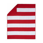 Kids Red & White Nautical Striped Quilt Bedding - These bold red and white stripes would be at home in a nautical-themed bedroom for kids.