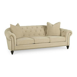 Charlene Fabric Sofa, Buckwheat - When it comes to big pieces of furniture, you can never go wrong with neutrals, especially when it has detailing like tufting and nailhead trim.