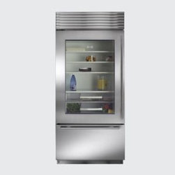 "Sub-Zero  36"" Built-in Bottom-Freezer Refrigerator - This refrigerator from Sub-Zero would look right at home in a modern farmhouse kitchen. Throw in a colander of farm fresh eggs and a glass carafe of milk and you're set."