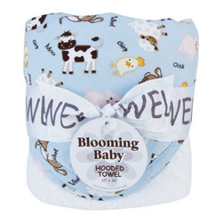 """Trend Lab - Bouquet Hooded Towel - Baby Barnyard - Trend Lab's Baby Barnyard Hooded Towel will keep your baby warm and dry after bath time. The white terry towel features a cotton percale barnyard animal scatter print throughout the hood and trim in butter yellow, burnt orange, caramel, chocolate brown, pearl pink, bubblegum pink, and white on a sky blue background. Hooded towel measures 32"""" x 30""""."""