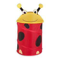 Honey Can Do - Medium Kid's Pop-Up Hamper - Lady Bug - Medium kid's Lady Bug pop-up hamper. 170T polyester. 3mm spring wire. 16 in. L x 16 in. W x 30 in. H