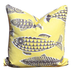 PillowFever - Cotton Pillow Cover in Yellow with Sardines Print and White Pipping - Pillow Insert is Not Included.