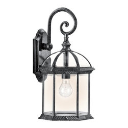 BUILDER - BUILDER New Street Transitional Outdoor Wall Sconce X-KB68194 - An elegant scrolling arm and traditional lines are complimented by a beautiful Black finish on this Kichler Lighting outdoor wall sconce. From the New Street Collection, clear beveled glass panels complete the look for a stylish finishing touch.