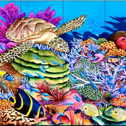 The Tile Mural Store (USA) - Tile Mural - Magic Carpet Ride  - Kitchen Backsplash Ideas - This beautiful artwork by Carolyn Steele has been digitally reproduced for tiles and depicts a colorful reef scene.  Our tiles with sea turtles are a great way to add something unique to your kitchen backsplash tile project. Make your tub and shower surround bathroom tile project exceptional with one of our decorative tile murals of sea turtles. Decorative tiles with turtles are beautiful and timeless and will never go out of style. Make a seaturtle tile mural part of your bathroom wall tile and enjoy this tile mural every day in your newly renovated bathroom.