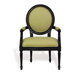 """Port 68 - Avery Antiqued Black Arm Chair Set of 2 - Inspired by classic vintage lines, the Avery armchair lends chic and sophisticated comfort in the living room, dining room or entryway. This demure design's custom upholstered seat is finished with fabric accents on its arms and grand oval back. Beveled molding and slim tapered legs define the furniture's antiqued black wood frame. Available in several fabrics; shown in Granny Smith. Sold as a set of two. 25""""W x 25""""D x 39""""H."""