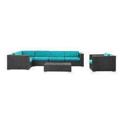East End Imports - Corona 7-Piece Sectional Set in Espresso Turquoise - Stages of sensitivity flow naturally with Corona's robust seating experience. Find meaning among cliffs and caverns as you become the agent of influence in the espresso rattan base and all-weather turquoise fabric cushion repast. Open yourself to splendorous insights as you impart positivity among friends and family.