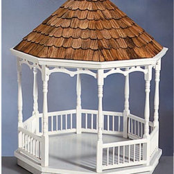 Real Good Toys - Real Good Toys Gazebo Kit - 1 Inch Scale - G-12 - Shop for Gazebos from Hayneedle.com! Add outdoor fun to your collector's dollhouse with the Real Good Toys Gazebo Kit - 1 Inch Scale! This festive and elegant gazebo kit includes a .5-inch ceiling with molded edge .375-inch thick floor and ceiling pieces an 8.175-inch floor-to-ceiling height durable gingerbread trim and wooden shingles for the roof. This gazebo makes for years of charming fun! Recommended assembly supplies: Hammer Fine-toothed saw Glues Utility knife Masking tape Sandpaper: 100 and 320 grit Paints Paint brushes Ruler 3/4 or 1-inch brads Elastic bands Adorable gingerbread trim strips are supplied in easy-to-cut lengths and step-by-step instructions with detailed drawings are included. Paint glue curtains and any landscaping or furnishings are not included. Overall dimensions include items that protrude such as roof cresting. This item is not recommended for children under 3 years. About Real Good ToysBased in Barre Vt. Real Good Toys has been handcrafting miniature homes since 1973. By designing and engineering the world's best and easiest-to-assemble miniature homes Real Good Toys makes dreams come true. Their commitment to exceptional detail the highest level of quality and ease of assembly make them one of the most recommended names in dollhouses. Real Good dollhouses make priceless gifts to pass on to your children and your children's children for years to come.