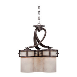 """Quoizel - Arts and Crafts - Mission Kyle 3-Light 20"""" Wide Pendant Chandelier - An pendant chandelier with a warm and exotic look. Perfect for kitchen illumination or for use in a hallway the Kyle pendant chandelier offers a classic look. The design comes in a Iron Gate bronze finish and is paired with etched glass. With three lights. Takes three 100 watt A19 bulb (not included). 20"""" wide. 22"""" high. Glass is 8"""" high.  Kyle Collection pendant chandelier.  3 downlights.  Iron Gate bronze finish.  Ideal for small spaces or kitchen islands.  From the Quoizel Lighting collection of chandeliers.  Takes three 100 watt A19 bulb (not included).   20"""" wide.   22"""" high.   Glass is 8"""" high."""
